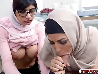 Arab stepmom and teen amazing threesome